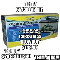 55 Gallon Tetra Aquarium Kits $149.99 + Special Bonus $20.00 Free Fish!